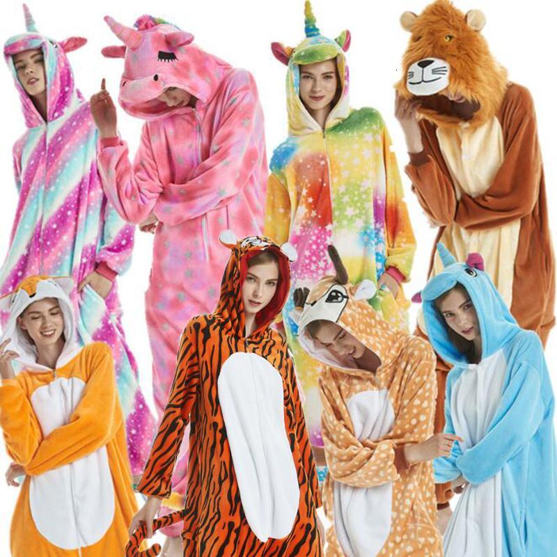 PXJYHCL adultos Kid mujeres coloridas franela ropa de noche Kigurumi de dibujos animados lindo del unicornio animal cosplay pijamas Set con capucha para niños