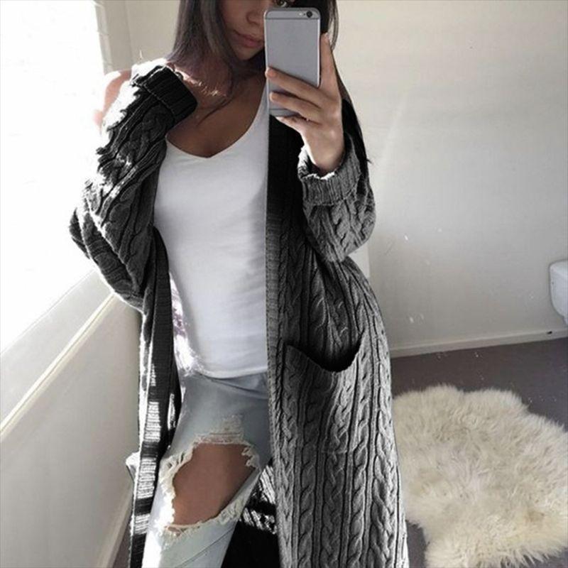Zadorin Mujeres Long Cardigan manga sólido puente largo suéter caliente 2020 otoño invierno Mujer de punto de Corea del suéter de la ropa linda de CX200814