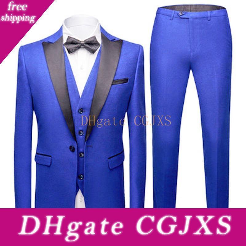 Новый стиль Groomsmen Royal Blue Groom Tuxedos Пик черный отворот Мужские костюмы Свадебные Шафер (Жених куртка брюки жилет Bow Tie) L221