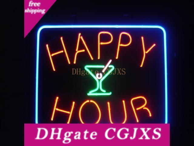 New Happy Hour Neon Sign Real Glass Tube Bar Club Room Handmade In The Wall Game Room