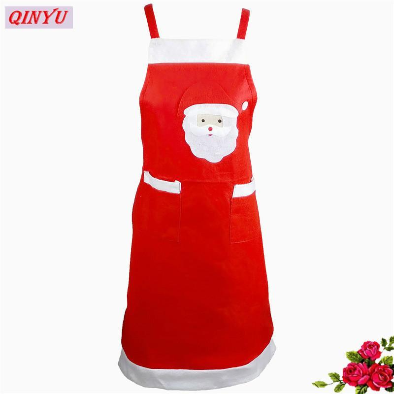 New Red Weihnachtsmann Erwachsener Schürze Weihnachten zu Hause Dekoration Küche Zubehör Home Dinner Party-Dekoration des neuen Jahres Supplies 6Z