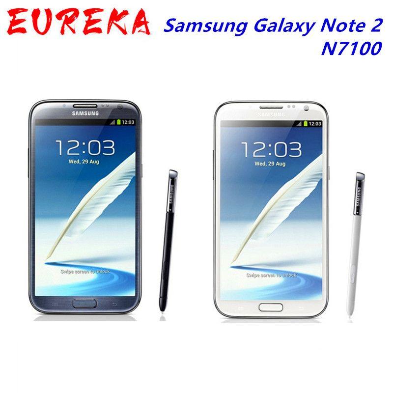 "100% Original N7100 Desbloqueado Samsung Galaxy Note 2 II N7100 Mobile Phone 5.5"" Quad Core 8MP GPS WCDMA Recuperado Smartphone"