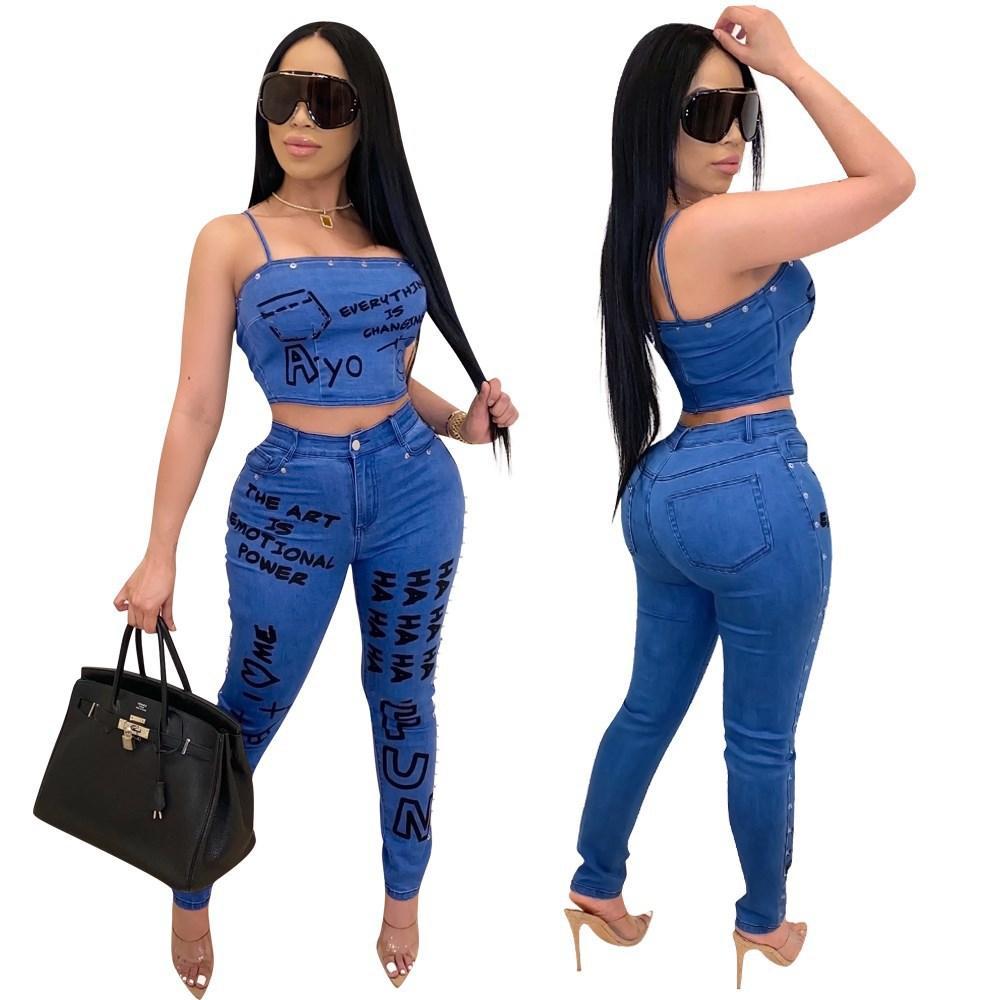 Fashion Women Jeans Conjuntos 2020 Duas peças Espaguete Cropped Top e Lápis Calças de Alta Qualidade Streetwear Clube Partido Outfits Novas Chegadas