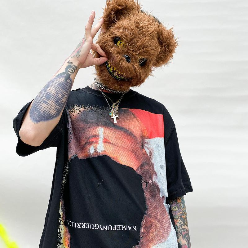 Vecchio Moda Uomo lavato retro annata band Heavy Metal Stampa Graffiti manica corta T-shirt per uomo e donna