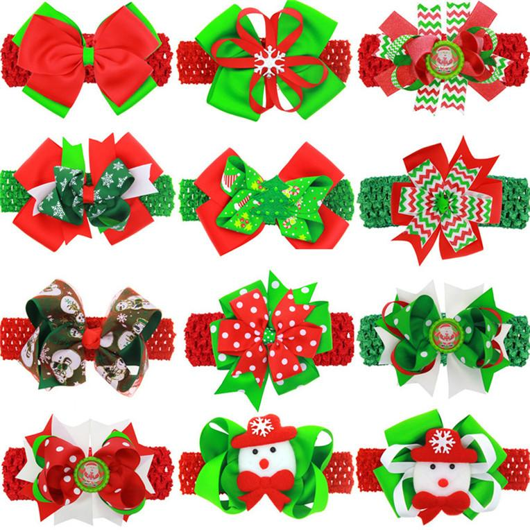 Дети Шпильки Рождество Санта 4.5cm луки Barrettes с головы Bands моды мультфильм Hairclip + оголовье двойного использования Аксессуары для волос D82805