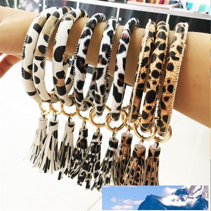 Leather Wrap Bracelet chiave personalizzati anello di leopardo nappa braccialetti di cuoio O chiave del cerchio dell'anello bracciali wristlet chiave T495