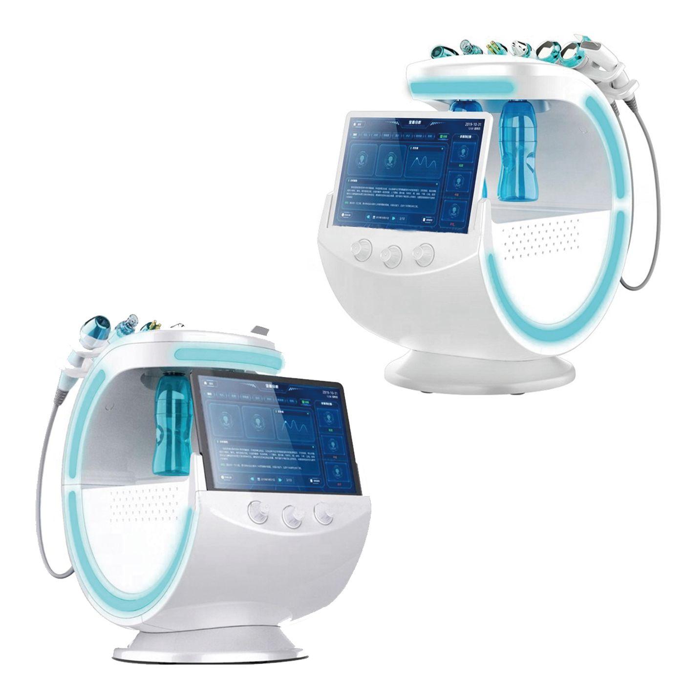 2020 Portátil 7 em 1 Máquina Facial Hydra Inteligente Ice Blue RF Oxigênio Jato De Água Descascando máquina hidráficial com análise de pele