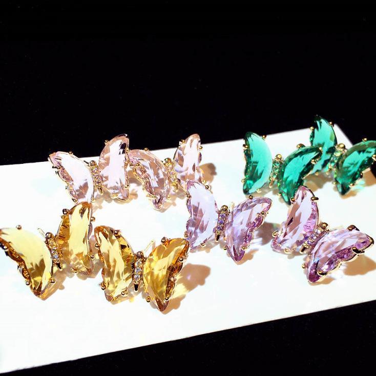 Nuevo diseñador de moda espumosos hermoso diamante cristalino colorido de mariposa grande del perno prisionero de la mujer para las niñas después de plata
