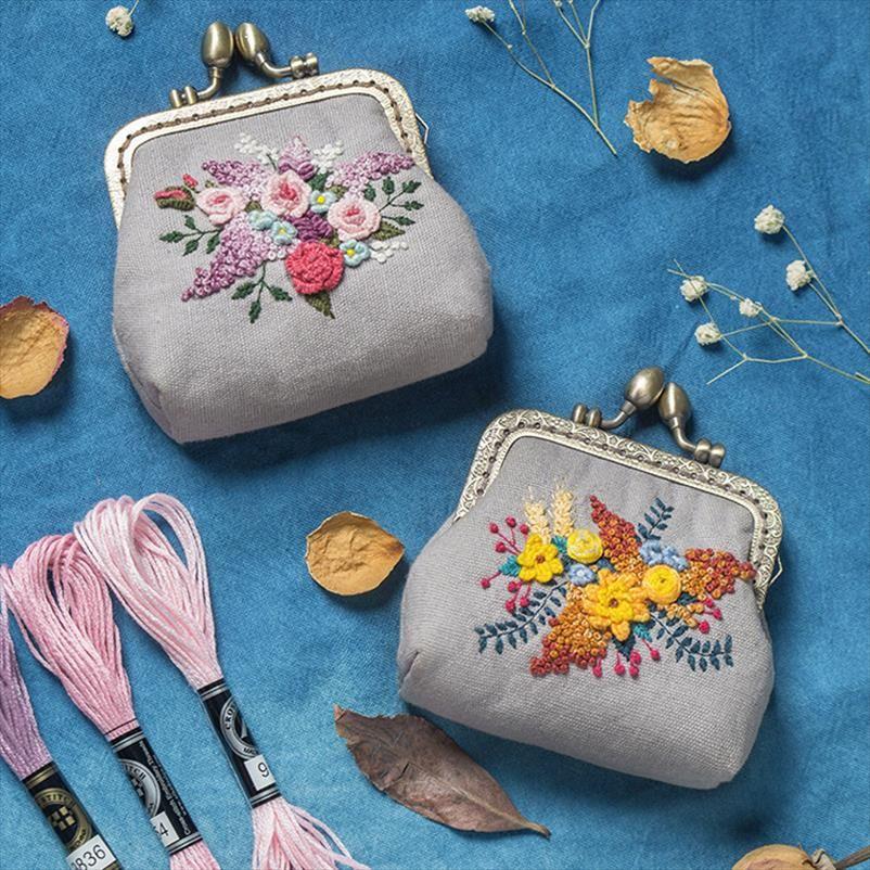 Borse da sera Donne fai da te sacchetto Ricamo moneta piccolo raccoglitore di sé materiale regalo fatto a mano di trasporto di goccia di buona qualità