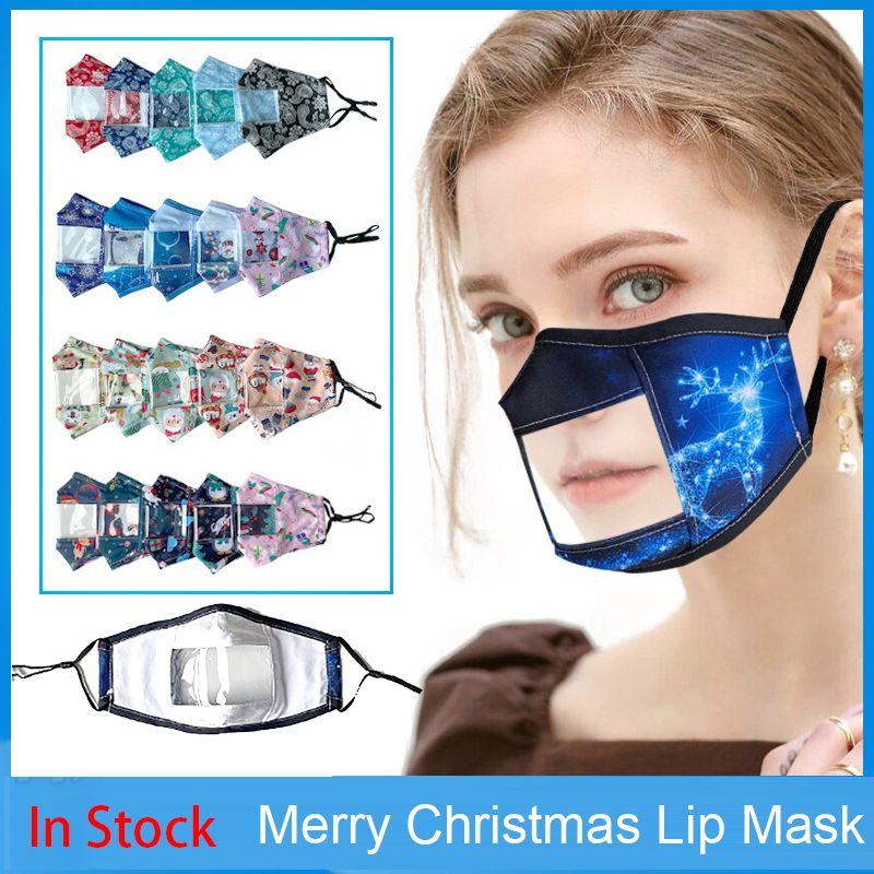 Weihnachten Lippen Sprache Transparent Designer-Gesichtsmasken Karikatur-Drucken Klare Gesichtsmaske Erwachsene Visible Deaf Earloop Fashion Party Masken
