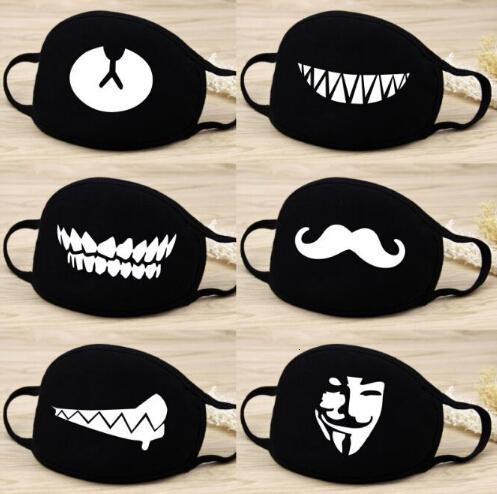 Мода узор на велосипеде маски милые хлопчатобумажные маски лицо половина 3d лицо открытая маска черная муфеля печатание партии маски мультфильма рот твердой IVABJ OVLM