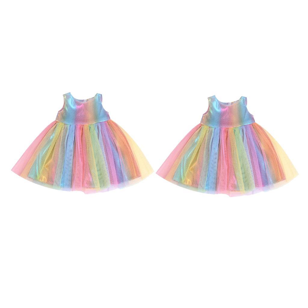 2x American Doll Kolsuz Elbise Kıyafetler 18 \ '\' Prenses Kız Bebek Moda