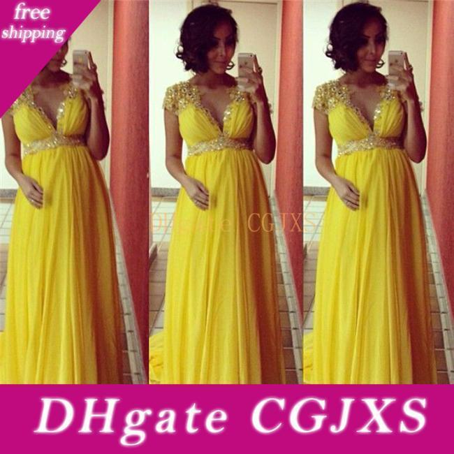 Amarillo con cuentas vestidos de noche de maternidad para las mujeres embarazadas vestido de la alfombra roja formal del partido Cuentas Imperio vestidos de fiesta de cristal
