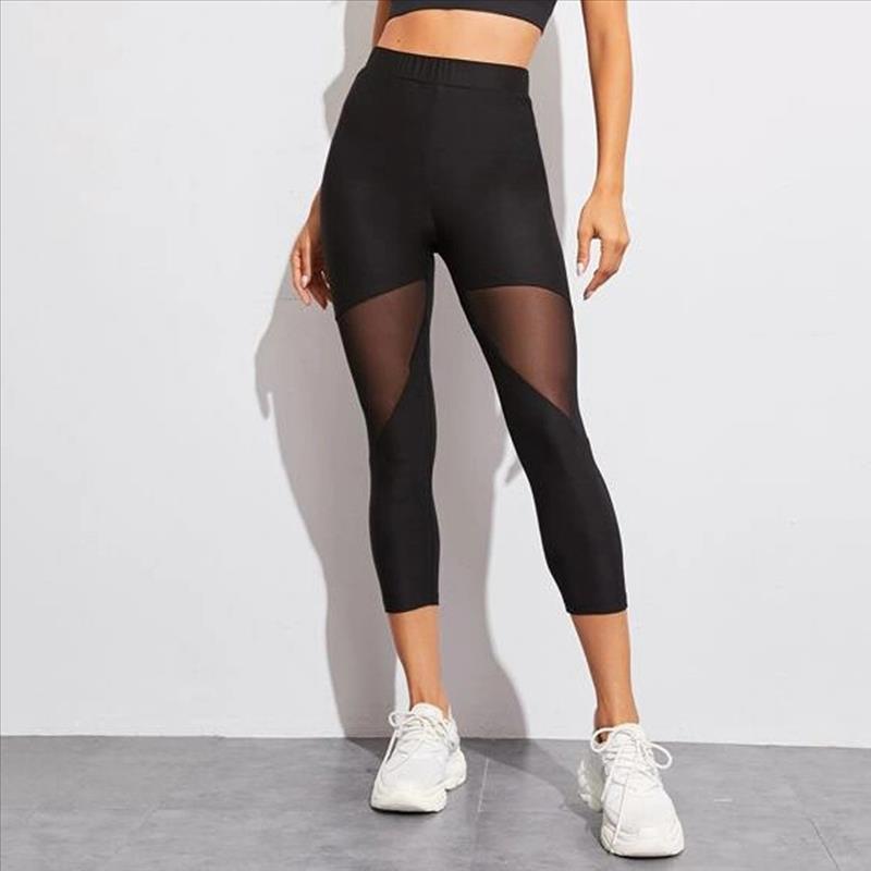 Женщины Mesh Лоскутная Спорт гетры высокой талией Брюки Сплошные Спортивная одежда для женщин Gym Push Up Plus Размер усилителя D