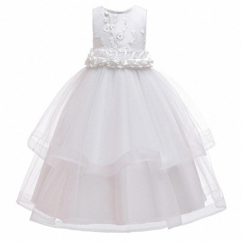 2020 2020 Sommer-Weiß-Brautjungfer Kleid Prinzessin Mädchen-Kind-Kleider für Mädchen-Kind-Rosa-Blumen-Hochzeitskleid 10 12 Jahre plBJ #