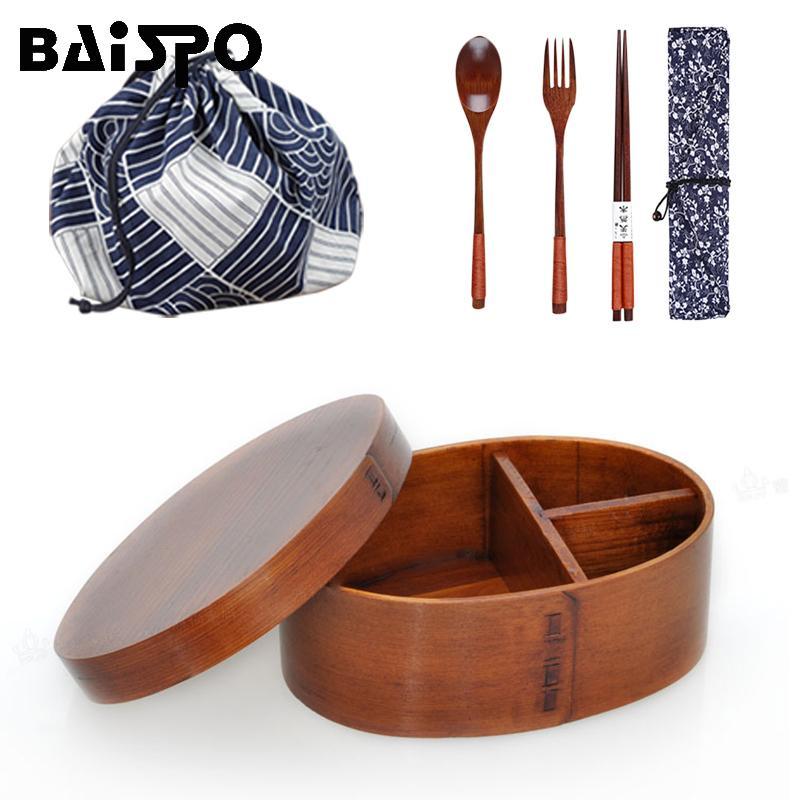 3pcs Baispo / set Bento Box estilo japonês Lunch Box For Kids Madeira material Louça Food Containers com compartimentos Y200429 Saudável