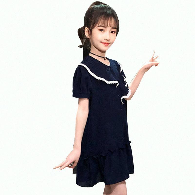 Mädchen-Kleid-Spitze-Kind-Partei-Kleider für Mädchen Rüschen Kinder-Sommer-Kleider Normallack-Kostüm-Mädchen 6 8 10 12 14 IThV #