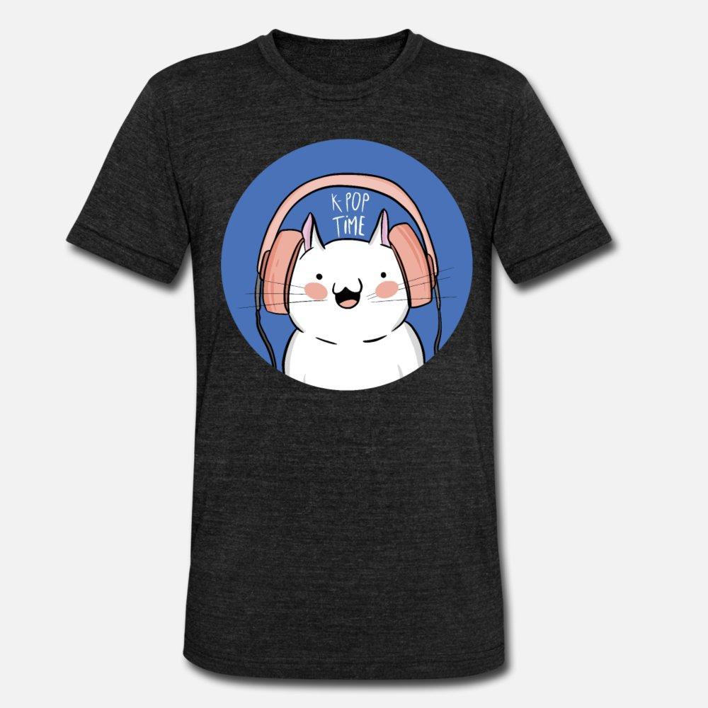 K Pop Coreia música Cat Kitty Ghetto Blaster T Shirt Men Designing 100% algodão roupas autêntico bonito camisa do estilo de Verão Original S-Xxxl