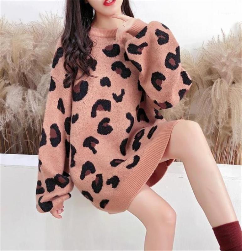Cuello de equipo para mujer suéteres casuales hembras ropa con estampado de leopardo mujeres del diseñador que Jerseys Moda suelta con paneles Pullover