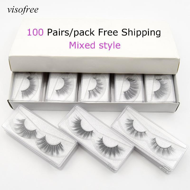 toptan 20/30/50/100 Çiftler kirpik 3D sahte vizon kirpikler doğal el yapımı göz kirpiklere tam şerit makyaj vizon visofree
