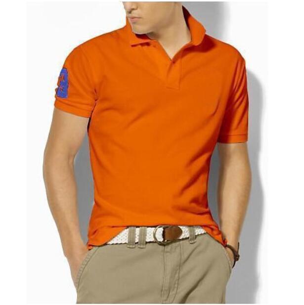 남성의 저지 코튼 남성 클래식 폴로 셔츠 큰 말 자수 짧은 소매 통기성 단색 캐주얼 T 셔츠 골프웨어 브라운 퍼플