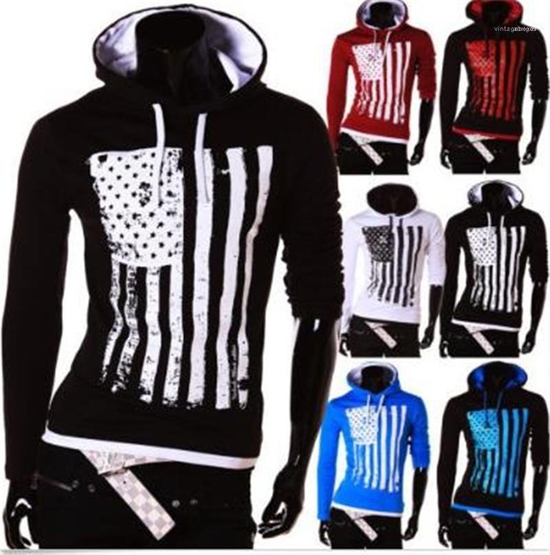 US Flag uomini incappucciati magliette casual a maniche lunghe T per l'uomo 20ss Primavera Uomo Abbigliamento