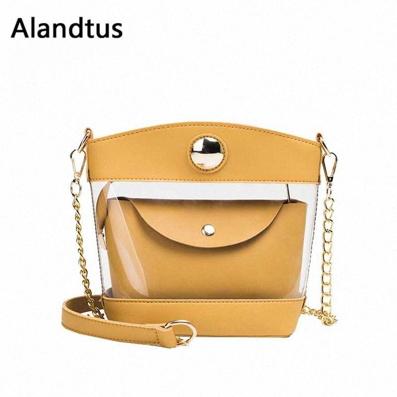 Alandtus sacos transparentes para mulheres Crossbody Messenger Bags Cadeia Lady Bolsa de Ombro Mulheres Bolsas Bolsa Feminina Bolso Mujer tBlK #