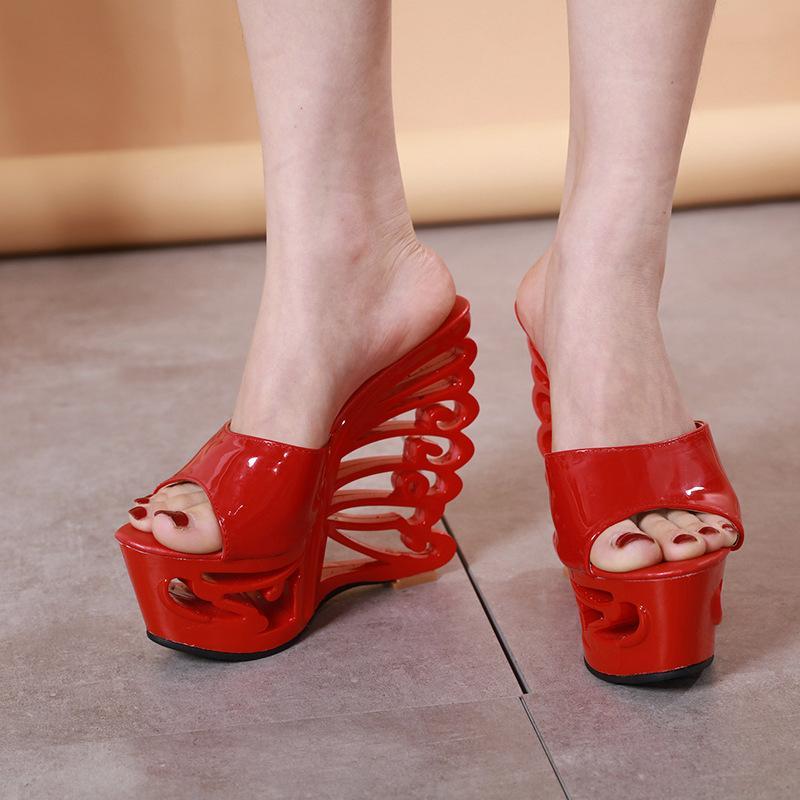 Büyük Beden 34-41 PVC Şeffaf Platformu Kama Sandals14.5cm Ultra Yüksek Topuk Anormal Pompalar Seksi Gece Kulübü Parti Yüksek Topuklar Ayakkabı
