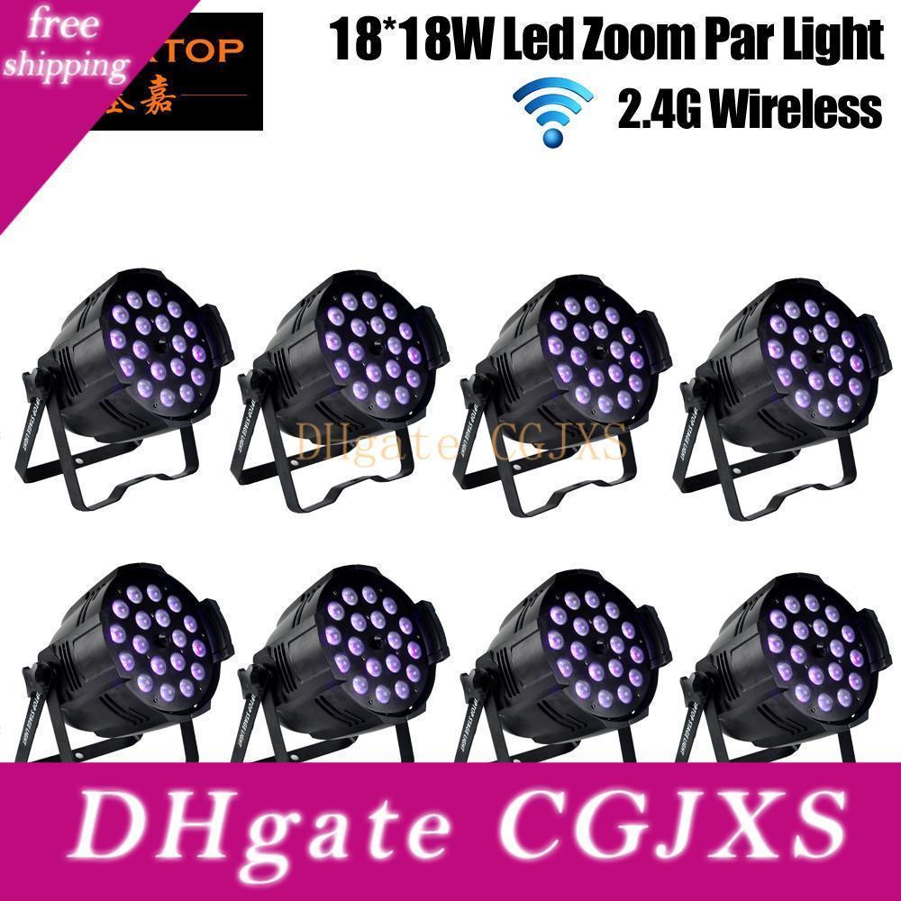 Freeshipping 8 Confezione Tiptop 18x18w Disco LED proiettore di luce par Zoom RGBWA Uv Wireless DMX 512 Stage Lighting Dj telecomando