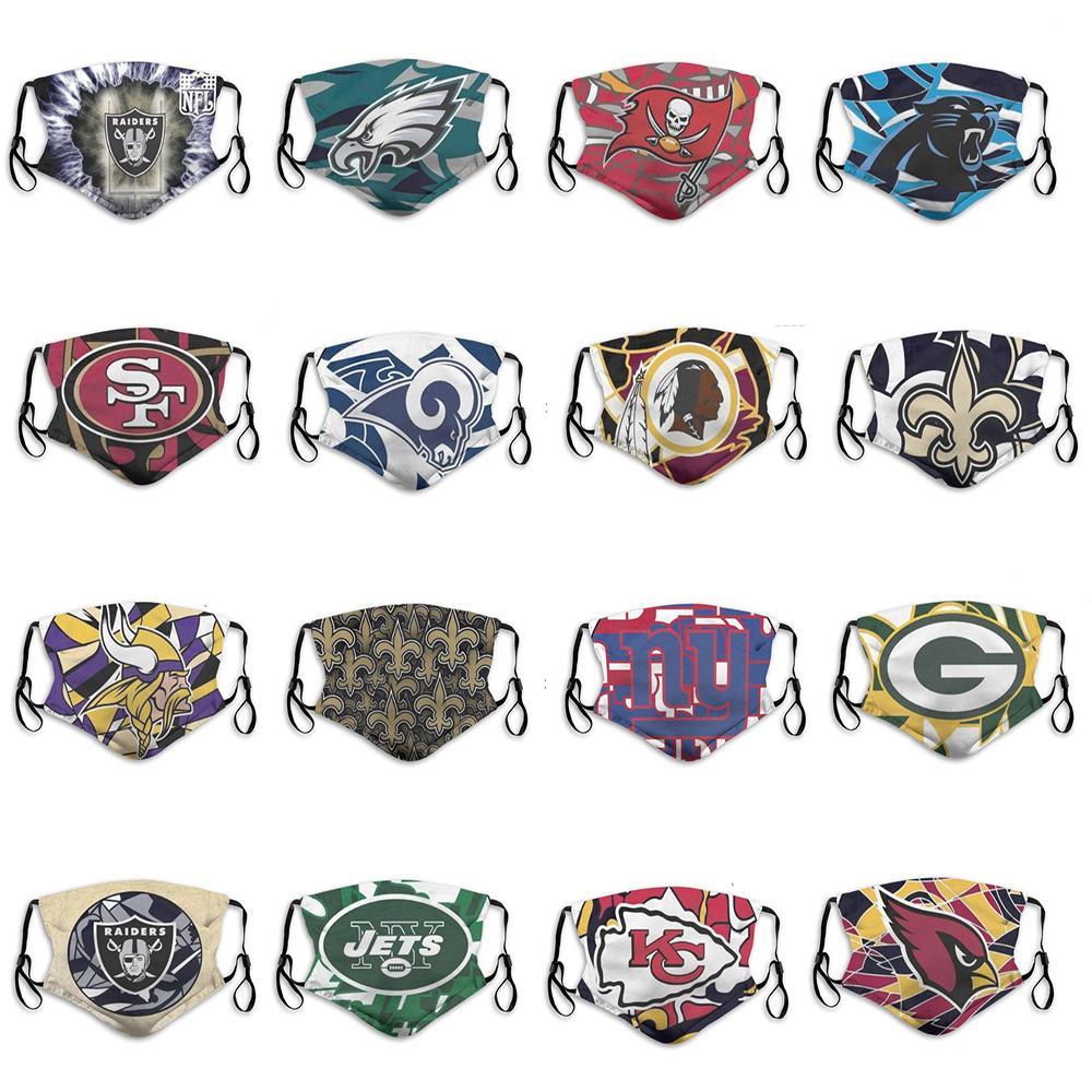 2020 Yeni Erkekler ve Kadınlar 5 katmanlı Toz Maskeleri Erkekler ve Kadınlar Rugby Takımı Kardinaller Şefleri Jetler Eagles Moda Kılavuzu Futbol Yeniden kullanılabilir Yüz Maskeleri