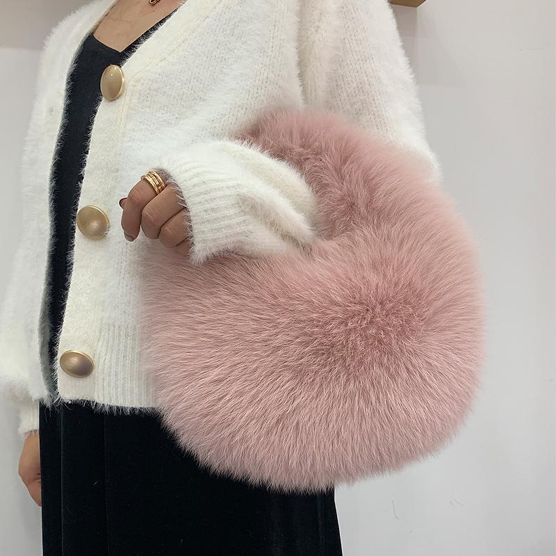 Neue Tasche Mode Pelzkette Handtasche Frauen Warme Haarige 2020 Weibliche Schulter Warmkette Echt Pelz Messenger Winter Xseeit