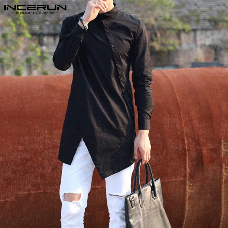 INCERUN 2020 Мужчины Нерегулярные рубашки отворота кнопка с длинным рукавом шикарный твердый цвет Camisa модные платья рубашки тонкие длинные вершины плюс размер