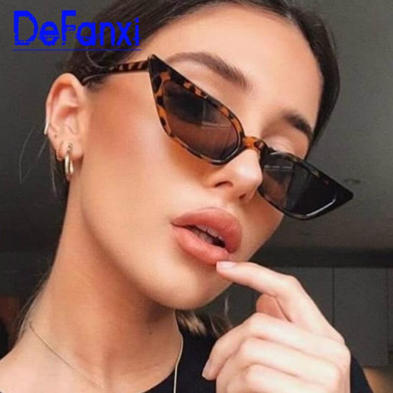 Старинные солнцезащитные очки для солнцезащитных очков Узкие цвета Женщины маленький глаз Cateye очки бренд Cat Candy ретро сексуальные очки для женских отвмс