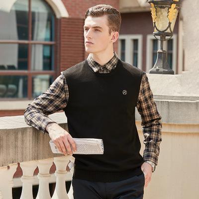 Hombres 2020FW camisas para hombre de negocios informal falso suéteres para hombre nuevo de la manera Dos suéteres Gentleman tops estilo suéter suéter de tela escocesa del remiendo