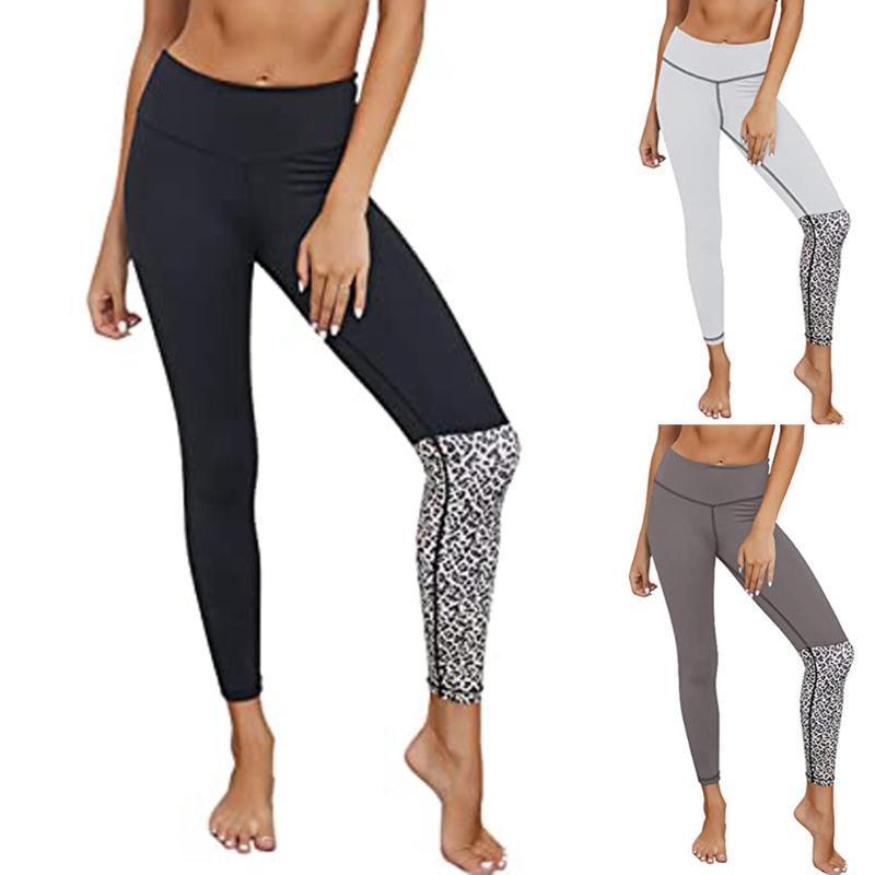 Roupas de Yoga sem emenda Leggings de cintura alta feminina leopardo retalhos exercícios fitness esportes ginásio rodando calça para o verão 2021