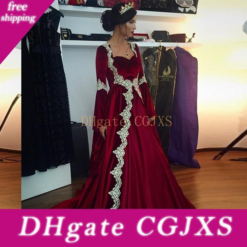 Burgundy Velvet Saudi Arabic Dubai Kaftan Long Sleeve Evening Dresses 2020 New Appliques Elegnat Islamic Women Formal Guest Dress Prom Gowns
