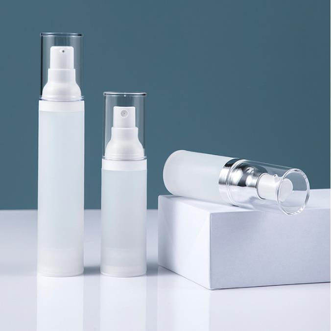 15 30 50 ml pompe sans air bouteille givrée. Contenants de lotion de voyage rechargeable VACKUM FINE FINE BOUCHE DE PULVISION EN PLASTIQUE Distributeur de cosmétiques en plastique