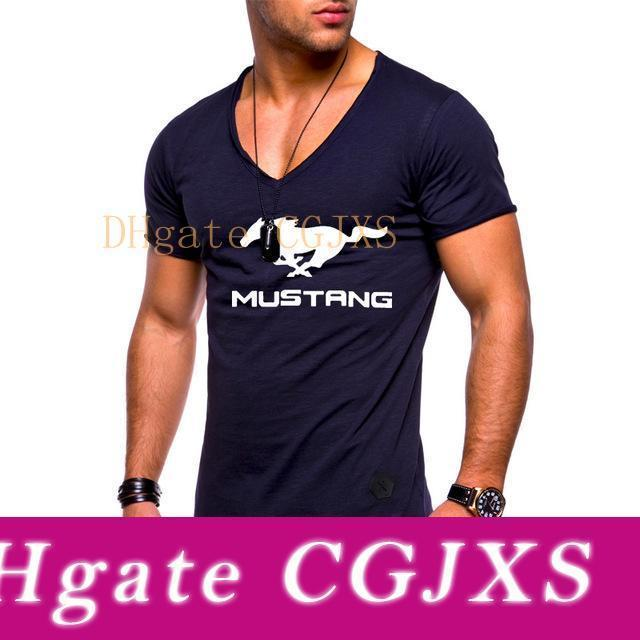 Sommer-Männer S T -Shirt für Mustang Car Printed Männer Kurzärmeliges Art und Weise beiläufigen Normallack-Kurzschluss-Hülsen V -Neck T -Shirt