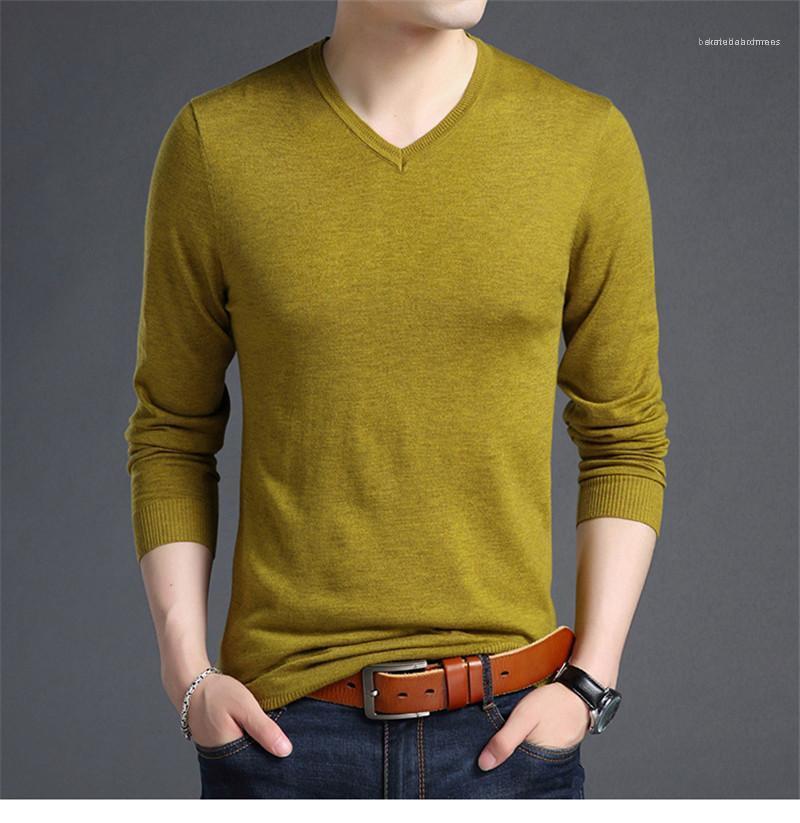 Sólido Diseñador machos color de la ropa para hombre de los suéteres Moda delgado suéter con paneles de cuello en V suéteres para hombre Casual
