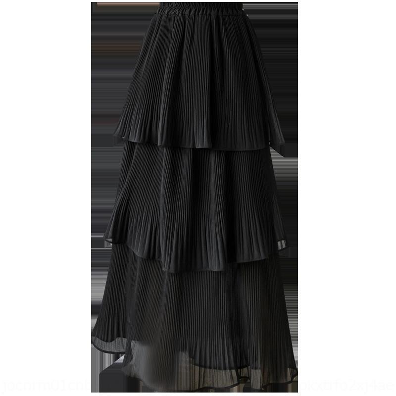 Ayh3P MvpD9 + negro y gasa s Cake verano falda de gasa de hadas 2020 nueva falda blanca plisada torta mitad de la longitud de las mujeres