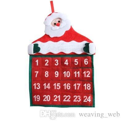 Новогодние украшения Санта-Клаус Календарь рождественских стены календаря дом кулон Рождество календарь Подвеска для дома 30 * 40 см
