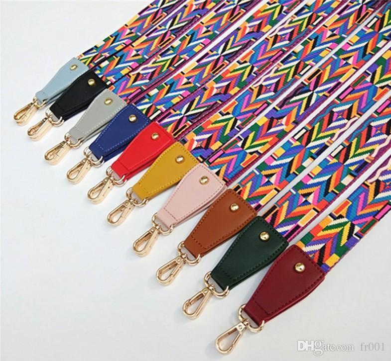 Sac coloré Bracelet pour les femmes en nylon à bandoulière bricolage épaule Ceinture réglable Accessoires Femmes larges bretelles pour les sacs noir impression blanc