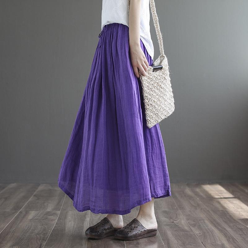 IrGZr vita a doppio strato gonna di lino delle donne dipinte da nuova estate del cotone Qi Yi e biancheria in cotone elastico gonna dolce allentata elegante pizzo-up