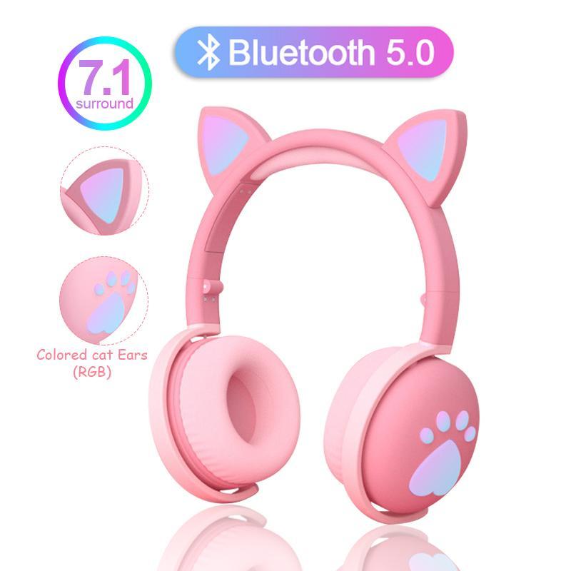 Miúdos bonitos Auscultadores sem fio fones de luz LED Cat orelha de gato Meninas do presente Bluetooth Headset Estéreo Baixo Com Microhpone