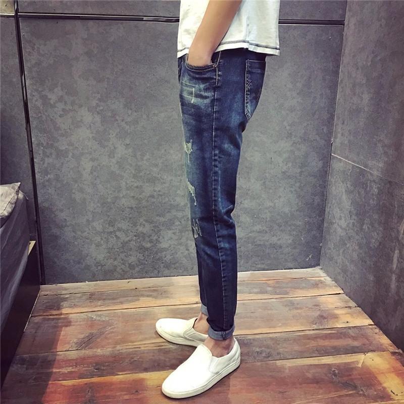 yQfTE à long printemps et d'automne marée ans de jeans chat de sport Jeans hommes jeunes sport hommes quartiles pantalons de survêtement coréenne nouveau mince pantalon