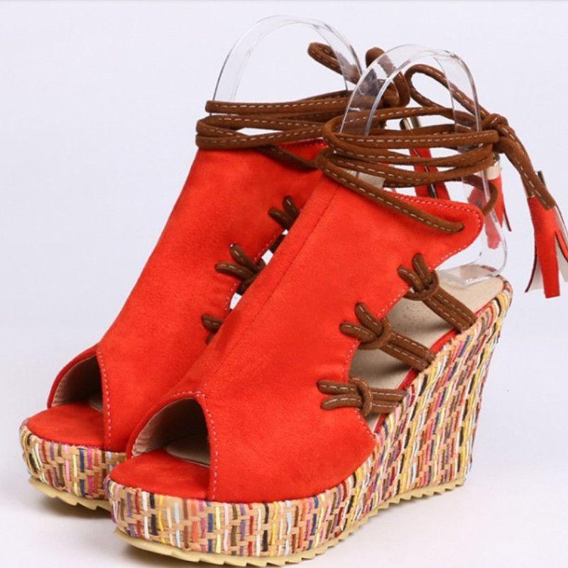 Fanyuan Sandals women gladiator sandals flock open toe 10cm wedges platform shoes woman summer lace up party shoes female