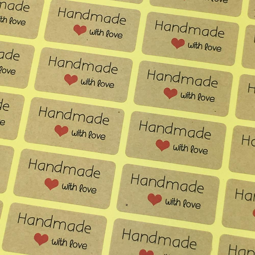 2000PCS Sticker Labels love self-adhesive stickers 4*2cm kraft label sticker DIY Hand Made Gift /Cake/Sealing Packing Labels