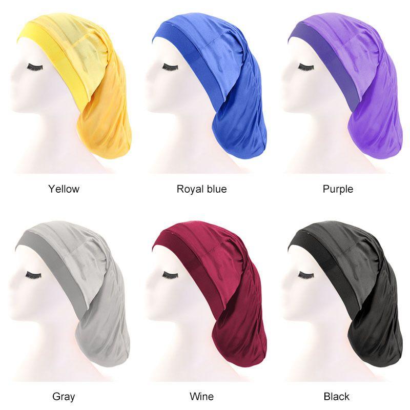 Breite Gummiband Satin Hair Caps Tasche Bonnet Silky Dreadlock Geflechte Baggy Cap Männer Frauen Langer Zylinder Schläft Nacht Caps