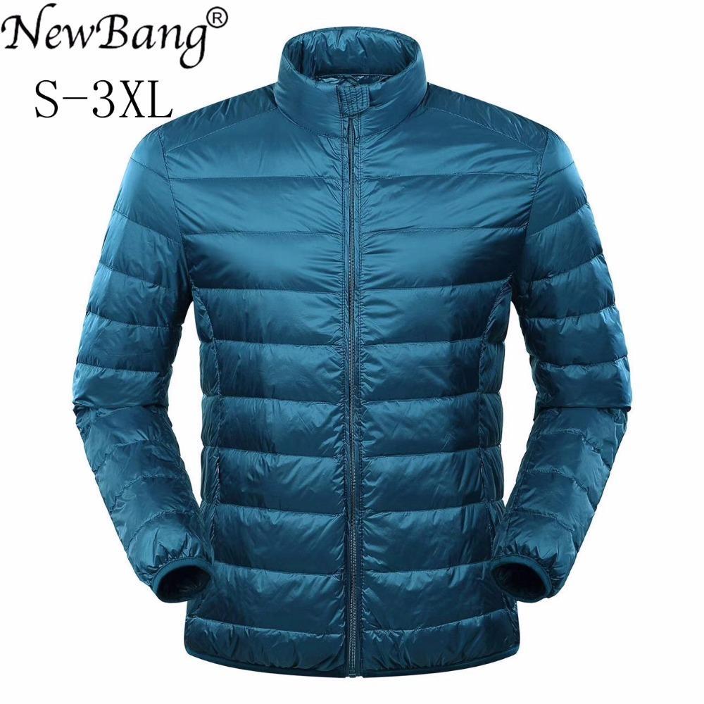 Veste homme NewBang plume ultra léger Doudoune Hommes Manteau d'hiver duvet de canard coupe-vent col montant Parka avec sac de transport CX200814