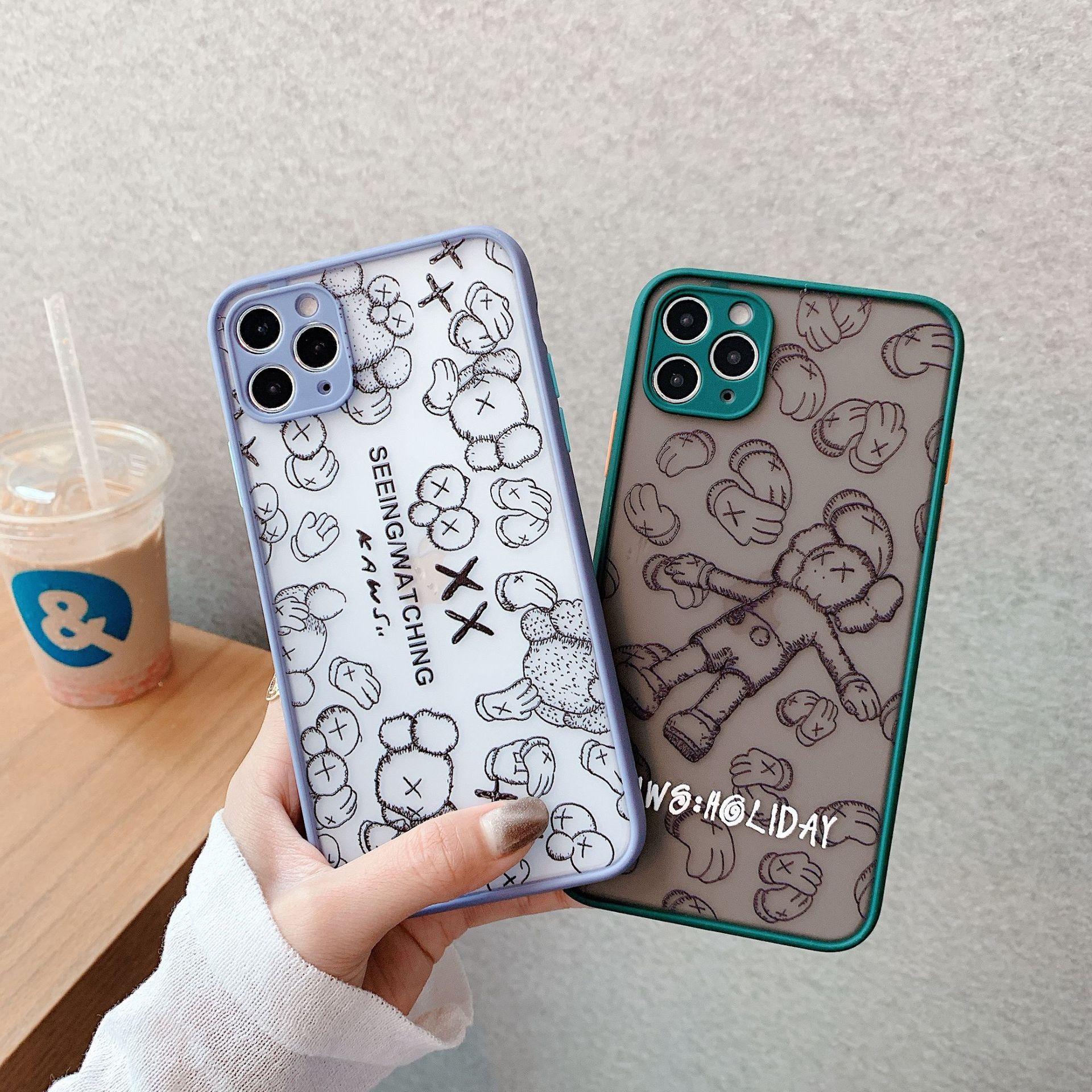 Pour iPhone 11 Por Max Max Xs Xr X 6 6S 7 8 Plus de couverture de cas Kaws 3D Toy Cartoon silicone souple en caoutchouc mignon
